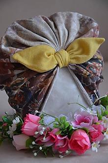 Detské čiapky - Čiapočka TURBAN (42 -50 cm, 1 - 3 roky - Béžová) - 12014196_