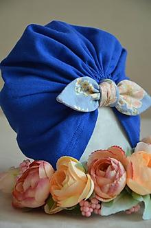Detské čiapky - Čiapočka TURBAN (univerzálna 40 - 44 cm, 6 - 18 mes. - Modrá) - 12014231_