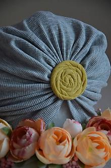 Detské čiapky - Čiapka turban  (34 - 40 cm, 1 -4 mes. - Šedá) - 12014293_