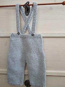 Detské oblečenie - Sivé háčkované nohavice na traky - 12011859_