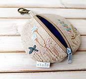 Kľúčenky - Kapsička na drobnosti Lúčne kvietky v modrej - 12011778_
