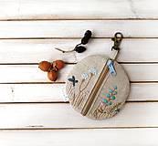 Kľúčenky - Kapsička na drobnosti Lúčne kvietky v modrej - 12011779_