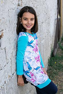 Detské oblečenie - modré kvetované mikinošaty - 12012142_
