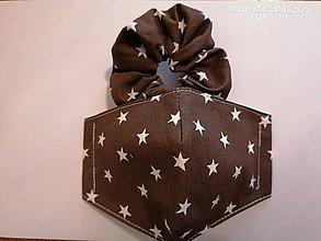Rúška - Set tvarované rúško s gumičkou _hnedé s hviezdami - 12011688_