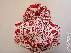 Rúška - Set tvarované rúško s gumičkou _folklórne červene vtáčiki - 12012034_