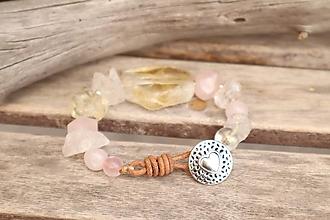 Náramky - Boho náramok z minerálov citrín, krištáľ, ruženín - 12012615_