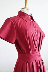 Šaty - Košeľové bordové šaty s viazaním v páse  - 12014748_