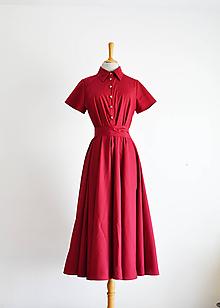 Šaty - Košeľové bordové šaty s viazaním v páse - 12014747_