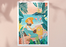 Grafika - Plameňáci - umělecký tisk, A4 - 12015590_