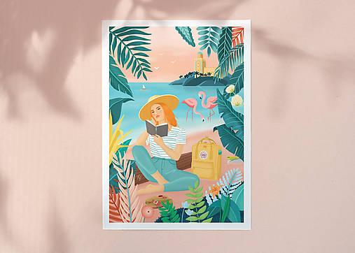 Plameňáci - umělecký tisk, A4