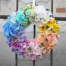 Dekorácie - Veniec na dvere dúhový, pastelový, pestrý, celoročný - 12017687_