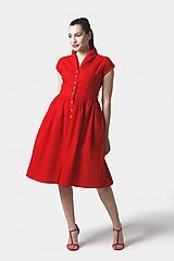 Šaty - Šaty červené s límčekom a  gombíkmi - 12017870_