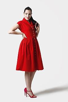 Šaty - Šaty červené s límčekom a  gombíkmi - 12017873_