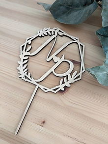 Dekorácie - Zápich na svadobnú tortu geometrický iniciálky - 12017281_
