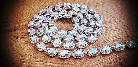 Galantéria - Štrasová reťaz - Crystal AB - 15 mm - cena za 10 cm - 12017319_
