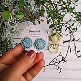 Náušnice - Light Blue baldachins - vyšívané puzety - 12018869_