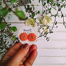 Náušnice - Orange baldachins - vyšívané puzety - 12018881_
