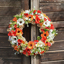 Dekorácie - Pestrý letný veniec na dvere - 12015487_