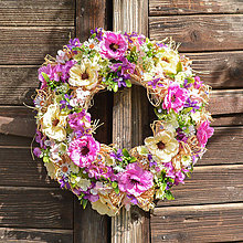 Dekorácie - Pestrý letný veniec na dvere - 12017695_