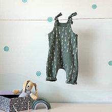 Detské oblečenie - Zelený mušelínový overal - žirafy - 12019062_