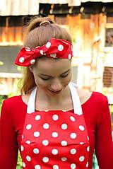 Ozdoby do vlasov - Červená bodkovaná čelenka Retro - 12015770_