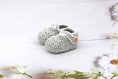 Topánočky - Sivo-biele papučky EXTRA FINE - 12017465_