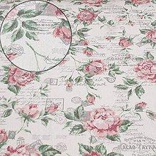 Textil - Dekoračná látka - metráž - listy, známky, ruže - 12015750_