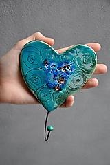 Nábytok - vešiak srdce 1 tyrkysovy - 12016165_
