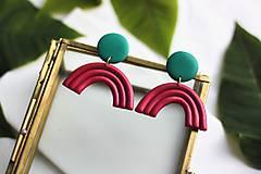 Náušnice - Náušničky z polymérovej hmoty - Pink & green - 12016355_
