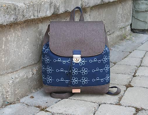 modrotlačový batoh Martin hnedý 3
