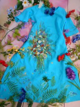 """Šaty - Ľanové maľované šaty """"Lúčna kytica II. """" - 10922082_"""