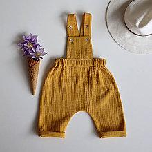 Detské oblečenie - Horčicové nohavice na traky z mušelínu - 12020545_