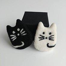 Brošne - Čierna mačka, biely kocúr - brošňa - 12020998_