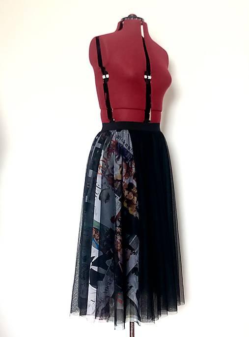 Tylová sukňa čierna