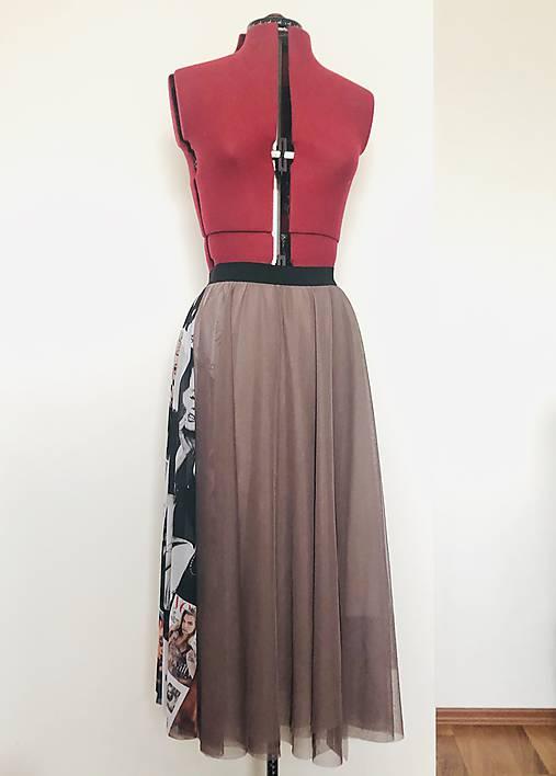 Tylová sukňa béžová