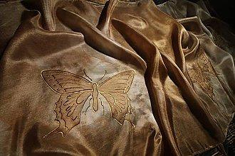 Šály - Zlaté motýle - šál - 12025257_