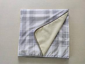 Úžitkový textil - Vlnienka Deka/ prikrývka 100% Merino TOP a 100% bavlna LUX KARO GREY  140 x 210 cm - 12024028_