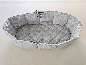 Textil - Vlnienka Hniezdo do hlbokej vaničky/ korbičky  kočíka Maximo 100% bavlna Trojuholník šedý FR na mieru - 12024113_