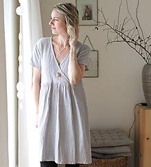 Šaty - . šaty mušelín . šedé . zlaté tečky - 12023874_