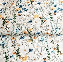 Textil - 100 % predpraný mäkčený ľan Letná lúka - 12024555_