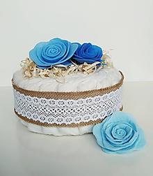 Detské doplnky - Plienková torta - Vintage modrá - 12025178_
