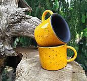Nádoby -  Žlto - čierne keramické šálky - sada  - 12024752_