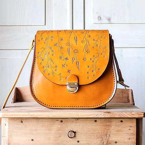 Kabelky - Kožená retro kabelka Floral Liana No.1 - 12022949_