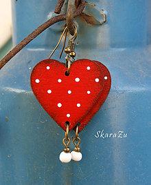 Náušnice - Heart dots // Red - 12026122_