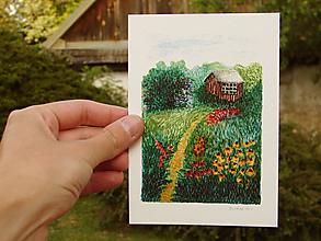 Papiernictvo - pohľadnica: domček v záhrade - 12027731_