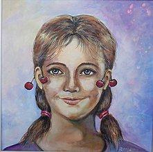 Obrazy - Dievčina s čerešňami - 12029441_