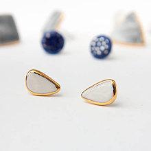 Náušnice - porcelánové náušnice | zlato, chirurgická oceľ - 12028645_