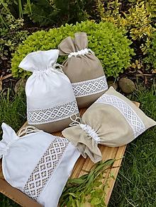 Úžitkový textil - Ľanové vrecúška na bylinky, huby, sušené ovocie...... - 12030905_