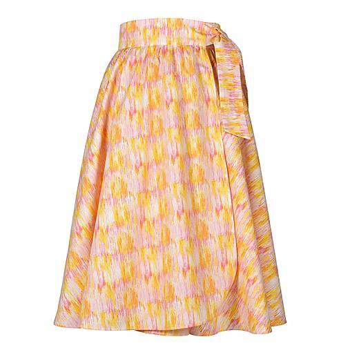 EDITA - áčková nariasená zavinovacia sukňa (64_žltoružová abstrakcia)