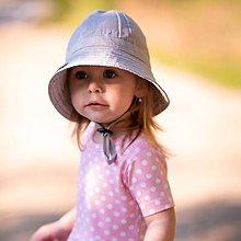 Detské čiapky - Detský ľanový klobúk grey - 12030924_
